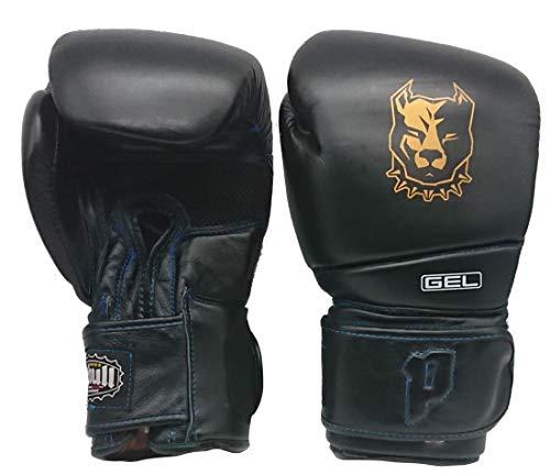 Pitbull Boxing Equipment GUANTONI BOXE | GUANTI 14 OZ | Nero | Guanti kick boxing | Guanti Muay Thai | Guanti in vera pelle GL 22