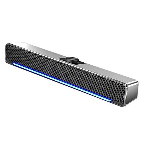 Kuinayouyi Barra de sonido para altavoces AUX Teatro Surround Soundbar con luz para PC TV ordenador hogar plata