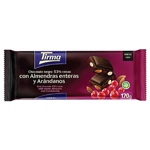 Chocolate Negro 53% Cacao, Almendras Enteras y Arándanos