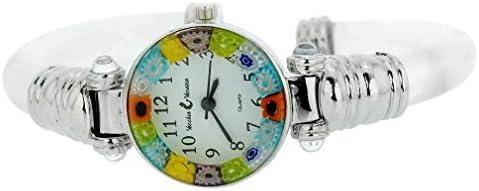 GlassOfVenice Reloj de pulsera Millefiori de cristal de Murano, color plateado transparente multicolor