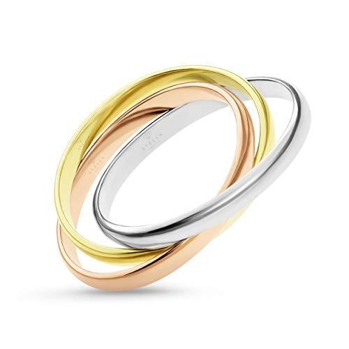 585er Gold Damen Ring Tricolor 3-reihig verschlungen Triple Weißgold Gelbgold Rotgold Ø - 56