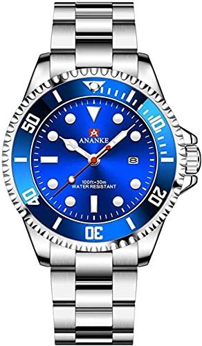 QHG Reloj de Lujo para Hombre Reloj de Cuarzo de Moda Luminoso clásico, dial Calendario (Color : Silver-Blue)