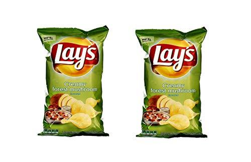 LAY'S Patatas fritas (crema agria y sabor a champiñones), 140 g, paquete de 2