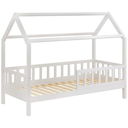 Schönes Kinderbett 90x200 cm mit Rausfallschutz - Hausbett für Kinder aus Holz im skandinavischen HausStil | 90 x 200 Kiefer Bett inkl. Lattenrost | Massivholz Natur Hell