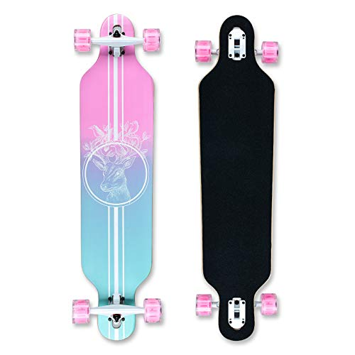 Longboard 41Zoll, mit ABEC-11 Kugellagern ,Drop-Through Freeride Skateboards Cruiser (Rosa Hirsch-826)