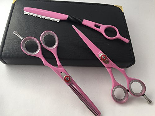 "5.5"" Professional Barber Razor Edge Powder Coated Hair Cutting and Texturizing Shears Scissors Pink with Straight Raxor Student Teacher Kit Set+case Black"