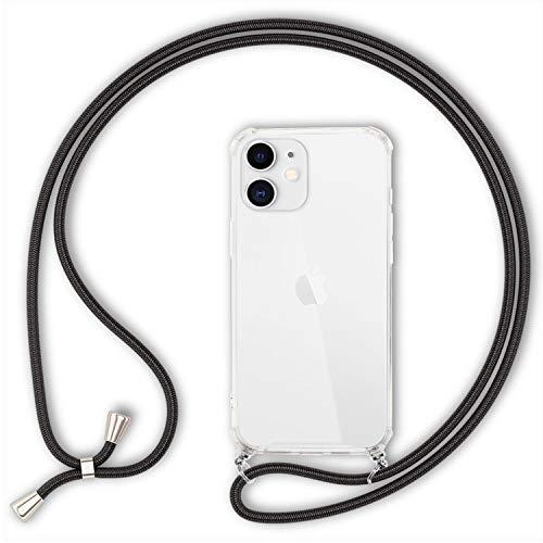 NALIA Carcasa con Cuerda Compatible con iPhone 12 / iPhone 12 Pro Funda, Transparente Hardcase & Correa Colgante para Colgar, Protectora Case & Cordon para Llevar en Cuello, Color:Negro