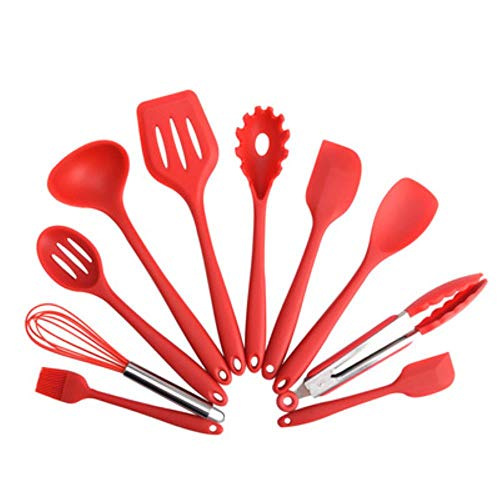 Silicona Accesorios de Cocina Herramientas de Cocina Antiadherentes Resistente al Calor Utensilios de Cocina Conjunto de Cocina Cuchara de Queso Molde de Aceite de Spray Kit B.rojo,10 unidades