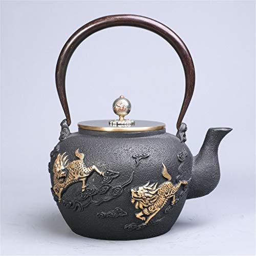 Teteras infusor té Jarra tea pots Teteras hechas a mano del unicornio Diseño de té de cocina casera Hervidor sin recubrimiento de Cook caldera de té moldeada juegos de hierros del té tetera (sola olla