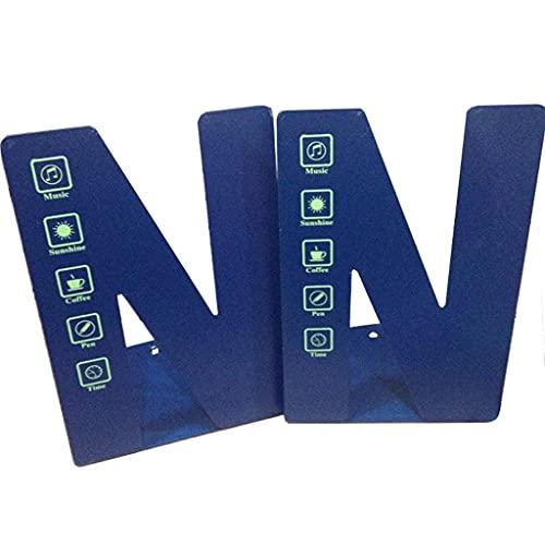 TEAYASON Sujetalibros decorativos en forma de N para libros, sujetalibros de metal, para libros, escritorio, oficina, cocina, 4.7 x 5.5 x 8.2 pulgadas (color: azul), azul