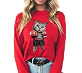 Sudaderas para mujer con estampado de gato de boxeo, sudadera de manga larga con capucha casual cuello redondo tops para señoras