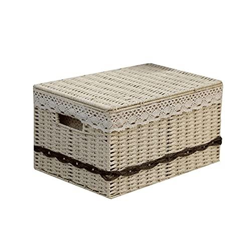Dabeigouzzhiwl almacenaje, Caja de Almacenamiento Multiusos, Dormitorio Armario Organización para Ropa de Cama, (Cuerda de Papel) Color: Beige, marrón, Blanco.Sice: S 11.2x8.4x5.5in, M 13.7x9.8x7.4in