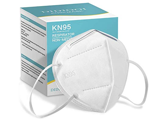 KN95 Face Mask 50 Pack, DIDIOOI 5 Layer Breathable Cup Dust Mask, Filter Efficiency≥95%, Masks Against PM2.5 from Fire Smoke, Dust-White