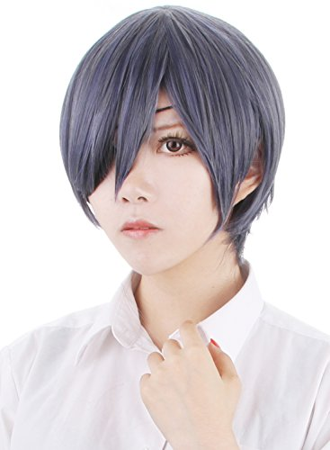 Probeauty Male Costume Wig Mix Color Short Straight Cosplay Wig for Black Butler Ciel+Wig Cap+Eye Pad