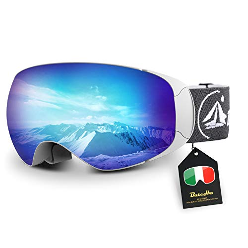 Ski Goggles,Magnet Interchangeable OTG Anti-Fog UV Protection Snowboard Goggles