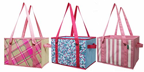 Earthwise Deluxe Collapsible Reusable Shopping Box Grocery Bag Set with Reinforced Bottom Storage Boxes Bins Cubes (Set of 3) (Pink)