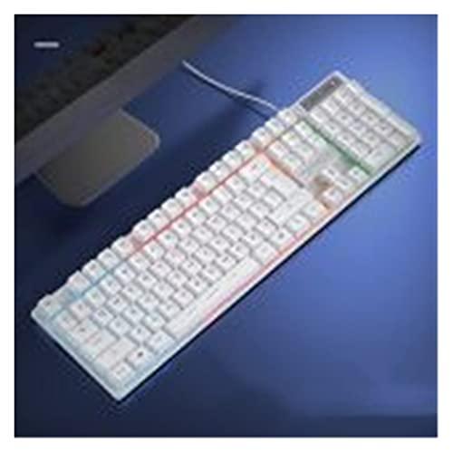 Accesorios para Laptop Teclados de Juego, teclados de sensación mecánica con retroiluminación para computadora Tablet PC Gamer PC portátil Accesorios de computador (Color : White Colorful Light)