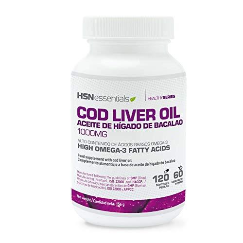 Aceite de Hígado de Bacalao de HSN Essentials | 1000mg | Cod Liver Oil | Fuente de Omega 3 | Con EPA, DHA, Vitamina A y Vitamina D | Sin Gluten, Sin Lactosa - 120 perlas