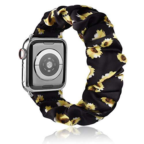 Scrunchie Cinturino Compatibile per Apple Watch 38mm 40mm 42mm 44mm, Seta Morbido Stampato Bracciale in Tessuto, Donna Cinturini Elastico per Iwatch SE Series 6 5 4 3 2 1(Fiore del sole 38mm/40mm S/M)