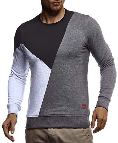 Leif Nelson heren sweatshirt basic trui ronde hals lange mouwen shirt voor mannen trui ronde kraag lange mouwen Crew Neck Slim Fit LN8336