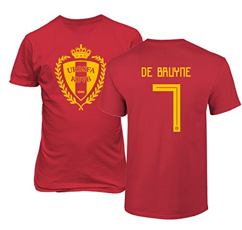 Tcamp Belgium 2018 National Soccer #7 Kevin DE BRUYNE World Championship Boys Girls Youth T-Shirt (Red, Youth Medium)