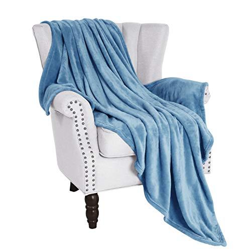 """Exclusivo Mezcla Flannel Fleece Velvet Plush Soft Throw Blanket – 50"""" x 60"""" ( Slate Blue)"""