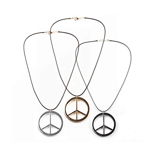 COLORFUL BLING 3 Pieces Hippie Style Anti-war Pendant Love Peace Sign Symbol Necklace Mens 1960s 1970s Party Jewelry B