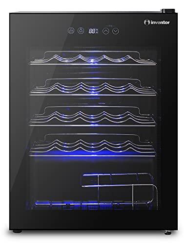 Inventor Vinoteca de Compresor con 66 litros de Capacidad para 24 Botellas estándar de Vino, Pantalla Digital, Panel Táctil, Luz LED y Puerta con Filtro UV (RAEE N° ES6988)