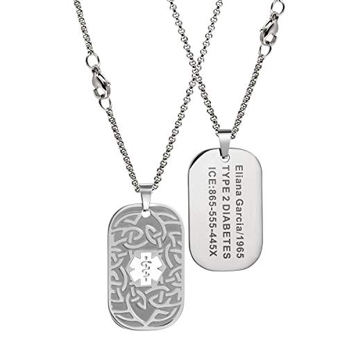 MunsteryAid Customize Medical Alert Celtic knot Dog Tag Necklace with Free Engraving for Men Women, Personalized Emergency Identification ID Necklace,4 Color Option (White medical caduceus symbol)