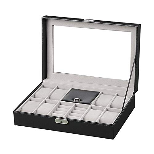 Watch Box Display Case Organizer for Men,Jewelry Watch Holder 8 Watch Slots,Ring Jewelry Storage Box Faux Leather