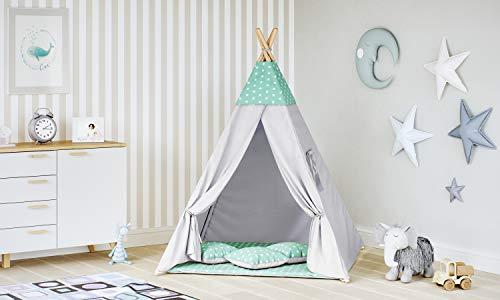 MALATEC Tipi Zelt für Kinder Spielzelt Indianer Baumwolle 3 Kissen Kinderzelt drinnen draußen 8702 , Farbe:Minze- Sterne