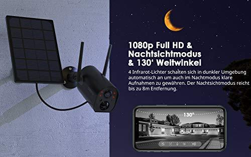 COOAU 15000mAh Akku Überwachungskamera mit Solarpanel, 1080P Kabellos Wiederaufladbare WLAN IP Kamera mit PIR-Bewegungserkennung, Lange Zeit Standby mit 15M Nachtsicht, 2Wege Audio, IP65 Wasserdich