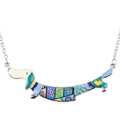 BONSNY Enamel Jewelry Love Heart Dachshund Dog Pendant Necklace 18' Love The Pets Animal Gift (Blue)