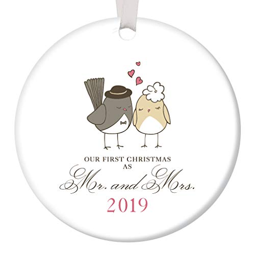 """Our First Christmas as Mr & Mrs Ornament 2019 Adorable Newlywed Love Birds Ceramic Keepsake Wedding Gift 1st Holiday Married Couple Present 3"""" Flat Porcelain with White Ribbon & Free Gift Box OR00047"""