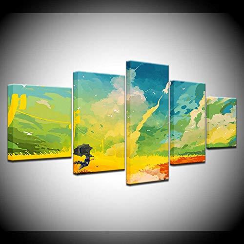 NOBRAND Azul Verde Amarillo Rojo Color 5 Piezas Fondos de Pantalla Arte Impresión en Lienzo Cartel Moderno Pintura de Arte Modular para Sala de estar-20x35 20x45 20x55cm Sin Marco