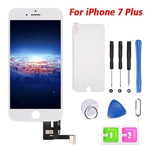 "Screen Replacement for iPhone 7 Plus White 5.5"" Touch Screen LCD Digitizer Display Assembly with Free Repair Tools (iPhone 7 Plus, White)"