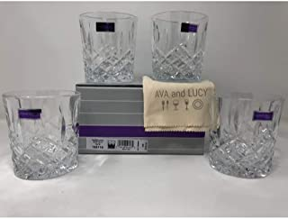 Marquis by Waterford Markham Double Old Fashioned Glasses, Set of 4, includes an Ava & Lucy Microfiber Cloth