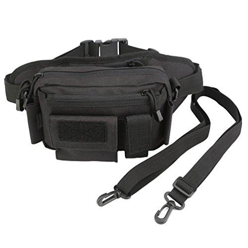 OLEADER Taktische Taille Pack Military Fanny Packs Hüftgürtel Tasche Beutel Werkzeug Organizer für Outdoor Wandern Klettern Angeln Jagd Bum Bag (Wüste digital) (schwarz)