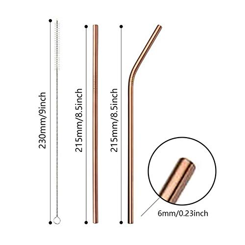 Momyeah Stainless Steel Straw Reusable Drinking Straw Stainless Steel Straw Bar Accessories Metal Drinking Straws with Cleaner Brush for Home Party,3pcs R
