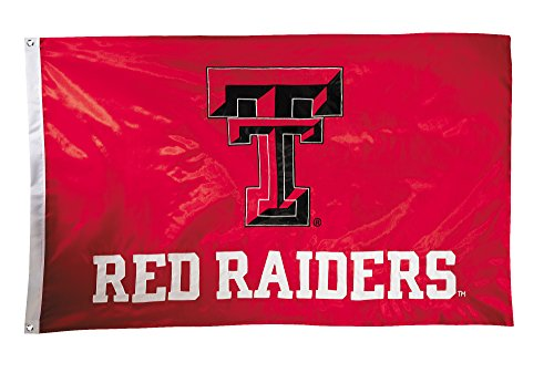 BSI NCAA Texas Tech Red Raiders 2-Sided Nylon Applique Flag with Grommets, 3' x 5', Red