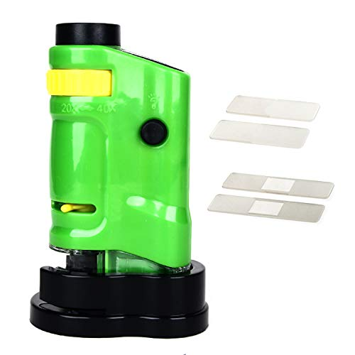BXGTECH LED Pocket Microscope 20X-40X Multifunctional Portable Microscope Compact Handhold Microscope for Learning, Education and Exploring in Yellow Green