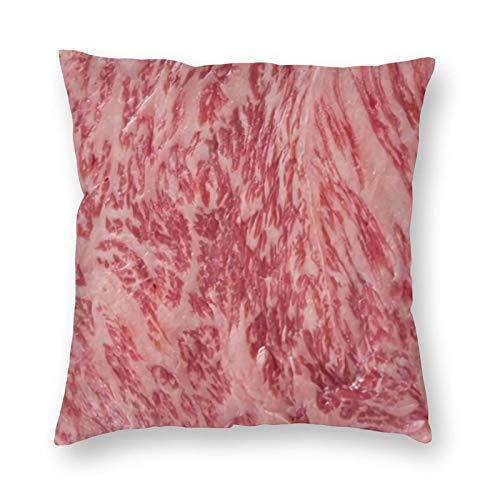 SHOUNENN Sirloin Steak 3D Food Throw Pillow Cushion Pillow Cover Home Decor Square Pillow Sofa case Home Decorative Decor Pillowcase(18x18IN)