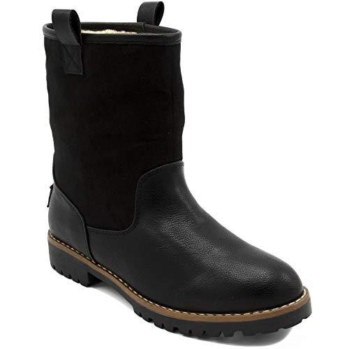 Nautica Womens Winter Boots Sherpa Fur Lined Low Shaft Mid Calf Bootie-Bosun 3-Black-6