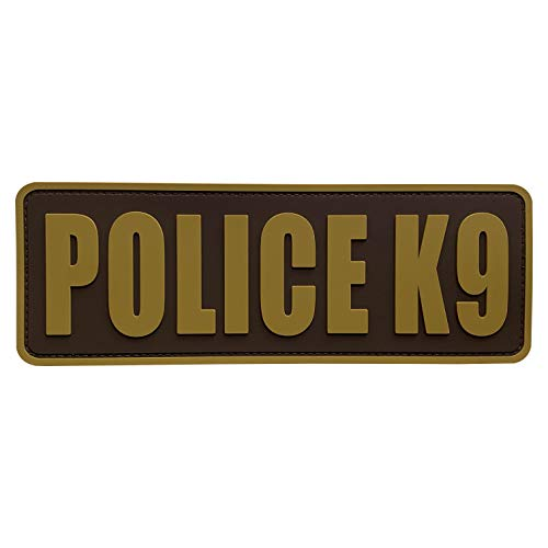 uuKen Coyote Tan K9 Police Patch PVC Patch 8.5x3 inch for Tactical Training Working Plate Carrier Tac Vest Bags (Coyote Tan, L8.5'x3')