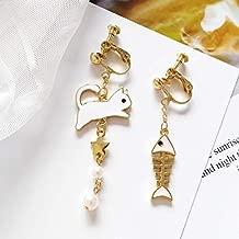 WENSHAOGG Earring Fashion Bone Asymmetry Earrings Gold Stars Earrings Female Popular The Fish Stud Earrings For Women