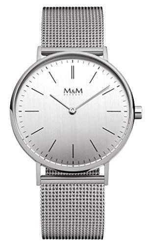 M&M Reloj Analógico para Mujer de Cuarzo con Correa en Acero Inoxidable M11892-142