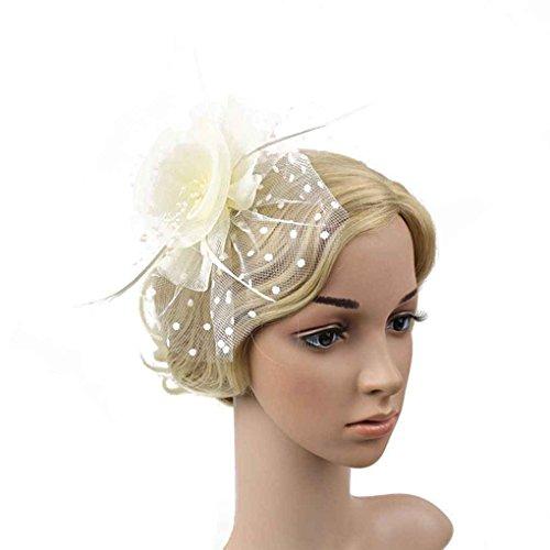 Bobury Femmes Fleur Plume Net Chapeau Mini Pince à Cheveux pour Les Femmes de Mariage de Plume Party Banquet