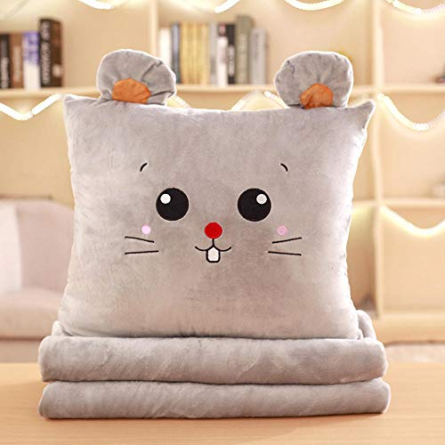 Cartoon anime plus velvet blanket sofa pillow quilt dual purpose square pillow@Gray mouse (square)_Three in one (with large blanket 1 * 1.7 meters)