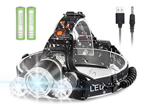 Newlemo Linterna Frontal, Linterna LED Recargable Cabeza con 3 Luces - 4 Modos, Ajustable y Cómodo de Llevar, Linterna Cabeza, Frontal LED Impermeable para Correr, Acampar, Pescar, Andar en Bicicleta