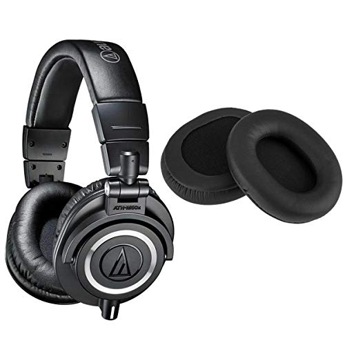 Audio-Technica ATH-M50x Professional Monitor Headphones, Black - with H&A High Frequency Leather Earpads for at ATH-M50 Headphones